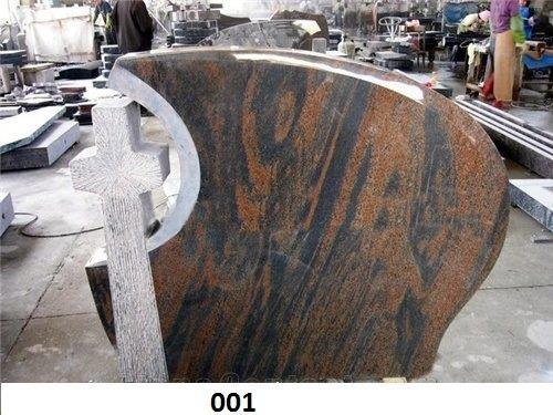 Cross Red Granite Tombstones P201270B